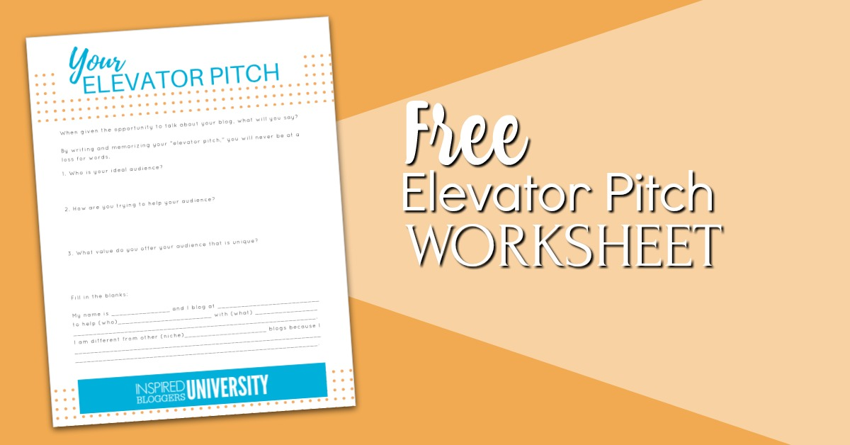 Free elevator pitch worksheet